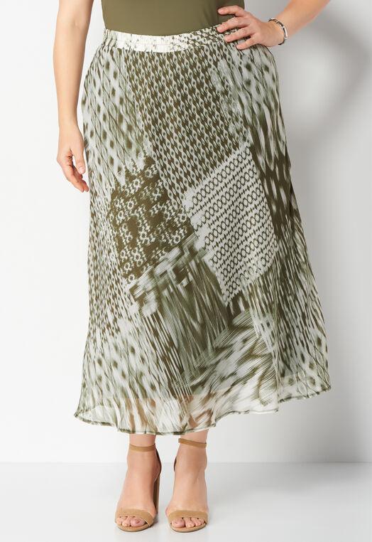 Abstract Print Yoryu Maxi Plus Size Skirt at Christopher & Banks in Charleston, WV | Tuggl