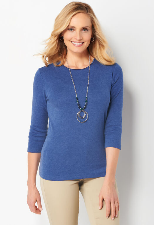 3/4 Sleeve Satin Trim Essential Petite Tee at Christopher & Banks in Charleston, WV | Tuggl