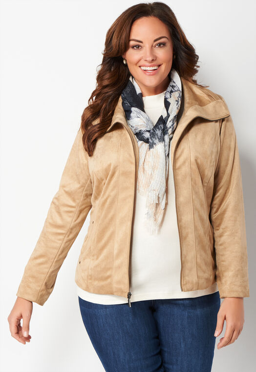 Faux Suede Detailed Plus Size Jacket at Christopher & Banks in Charleston, WV   Tuggl