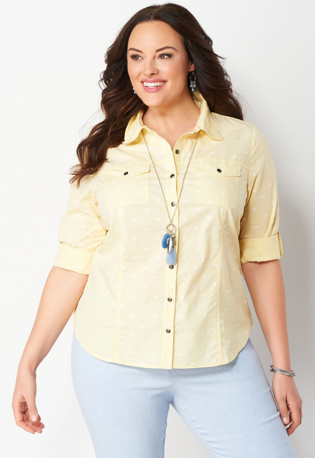 694dc9c3448 Women s Square Clipdot Essential Plus Size Shirt from Christopher ...