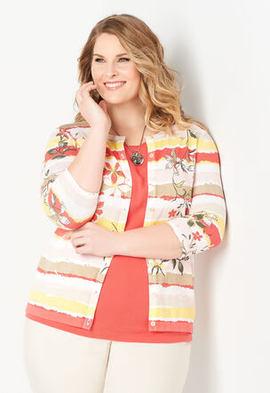 eea5efa203 Floral   Stripe Printed Perfect Plus Size Cardigan