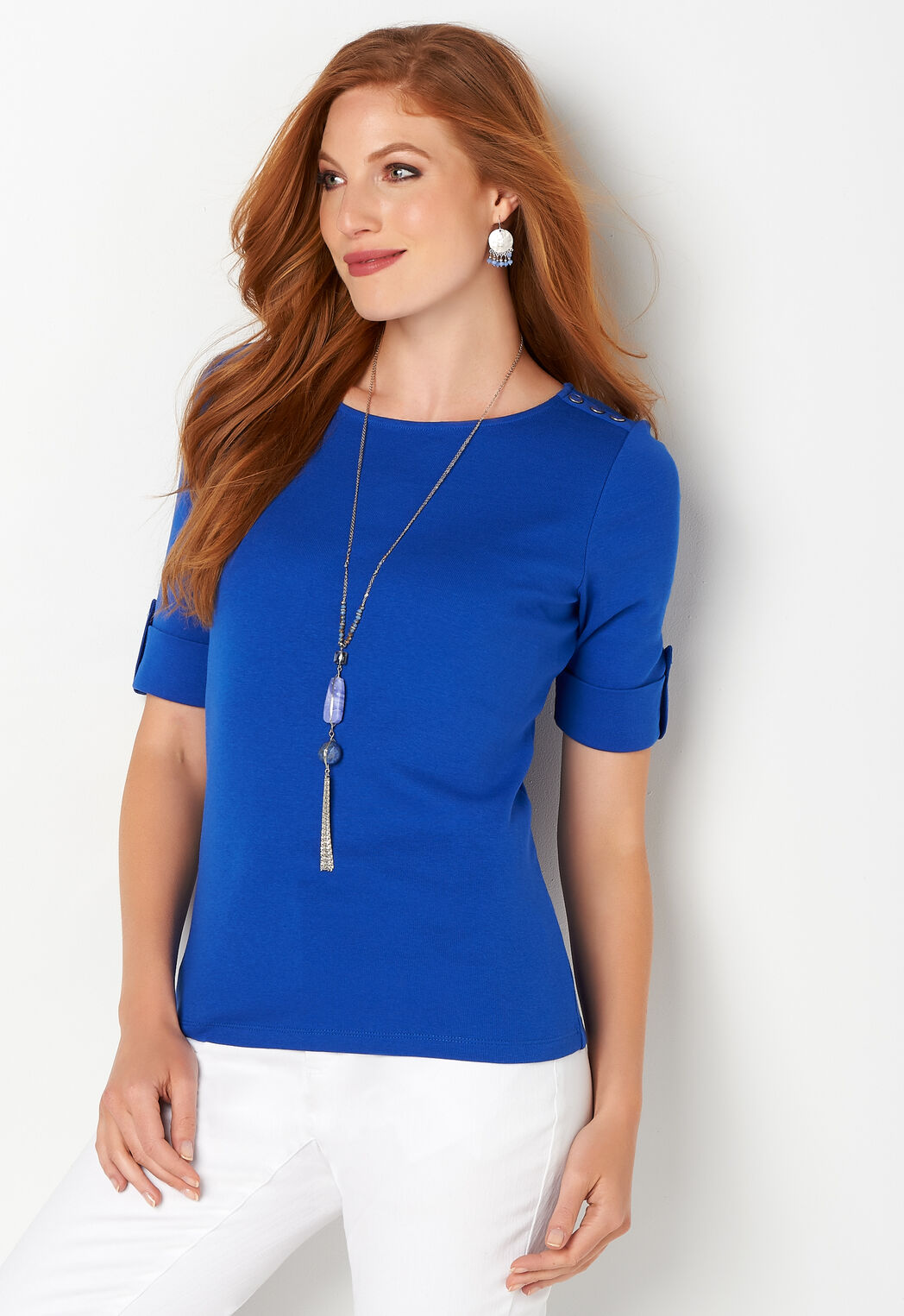 e6692fb9 ... Solid Elbow Sleeve Shoulder Detail Boatneck. add to wish list · add to  wish list