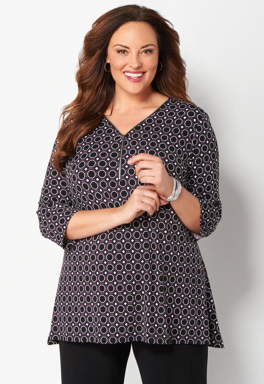 Easy Wear Zip Front Geo Printed Plus Size Top at Christopher & Banks in Charleston, WV | Tuggl