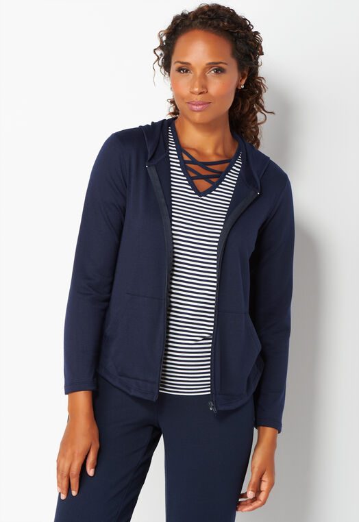 Relaxed Restyled Cinch Back Zip Up Hoodie at Christopher & Banks in Charleston, WV | Tuggl