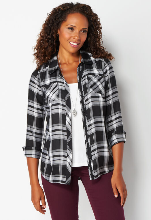 Studded Plaid Shirt at Christopher & Banks in Charleston, WV | Tuggl