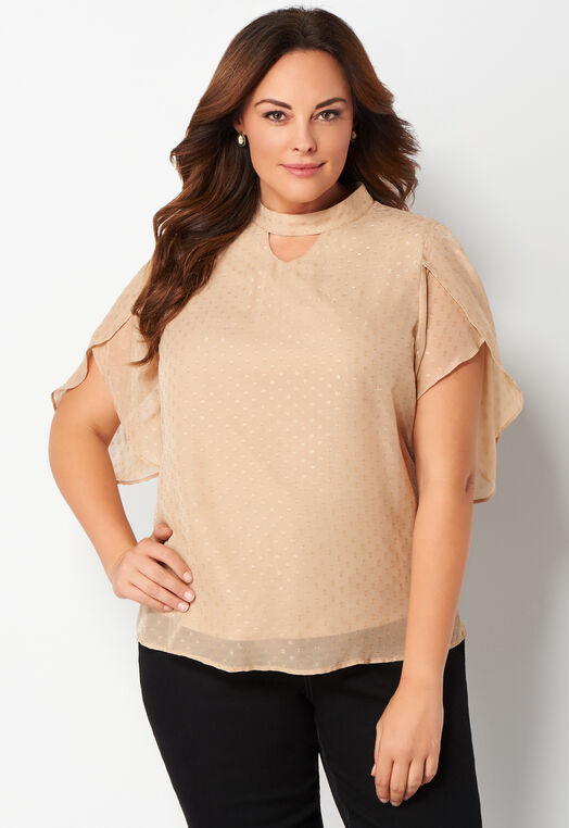 Tulip Sleeve Plus Size Blouse at Christopher & Banks in Charleston, WV | Tuggl