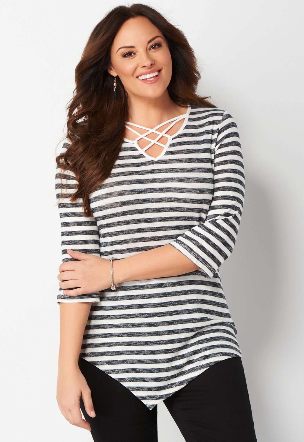 women's striped cage neck plus size knit top from christopher