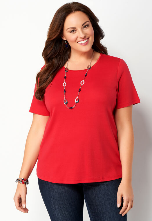 Short Sleeve Satin Trim Plus Size Essential Tee at Christopher & Banks in Charleston, WV | Tuggl