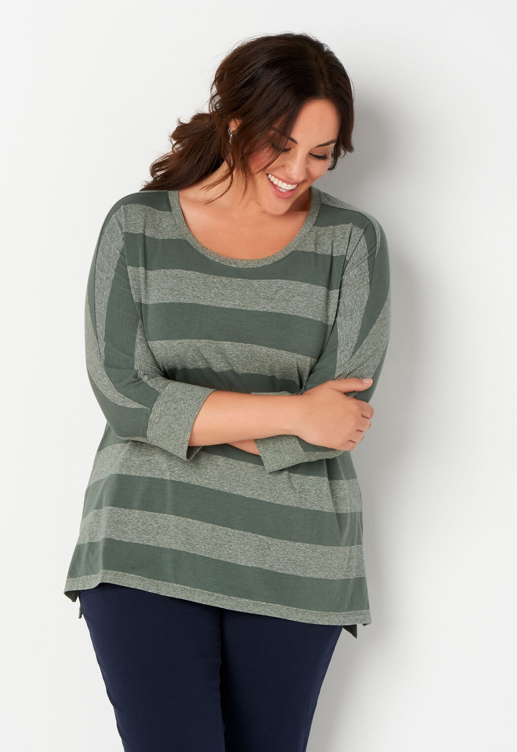 cb683b8b9cc Relaxed Restyled Batwing Stripe Plus Size Top - CBK Web Store