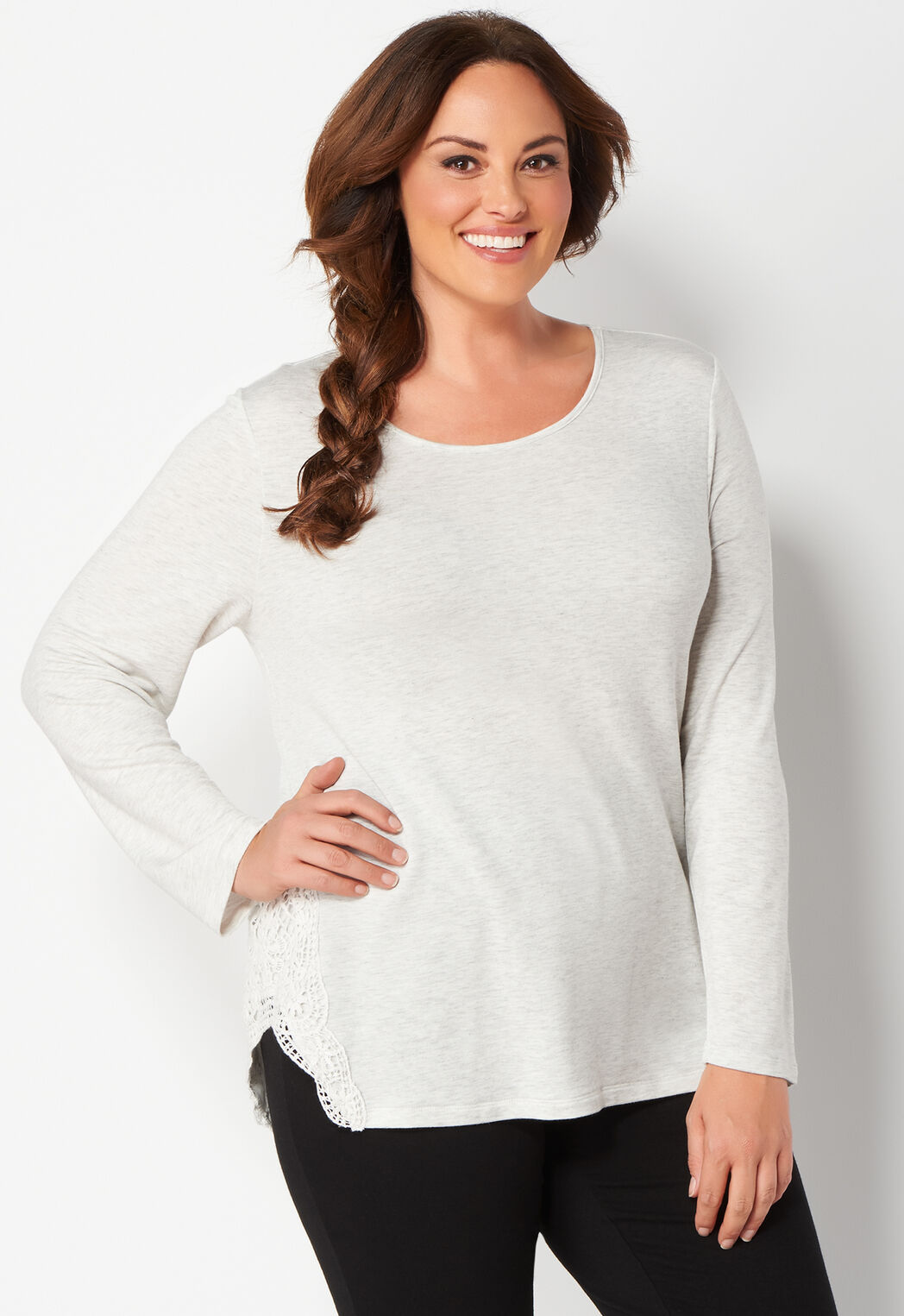 761b978c005 Relaxed Restyled Crochet Lace Space Dye Plus Size Pullover - CBK Web ...