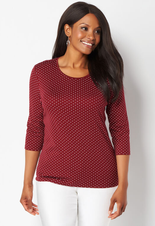 3/4 Sleeve Dot Print Satin Trim Essential Plus Size Tee at Christopher & Banks in Charleston, WV | Tuggl