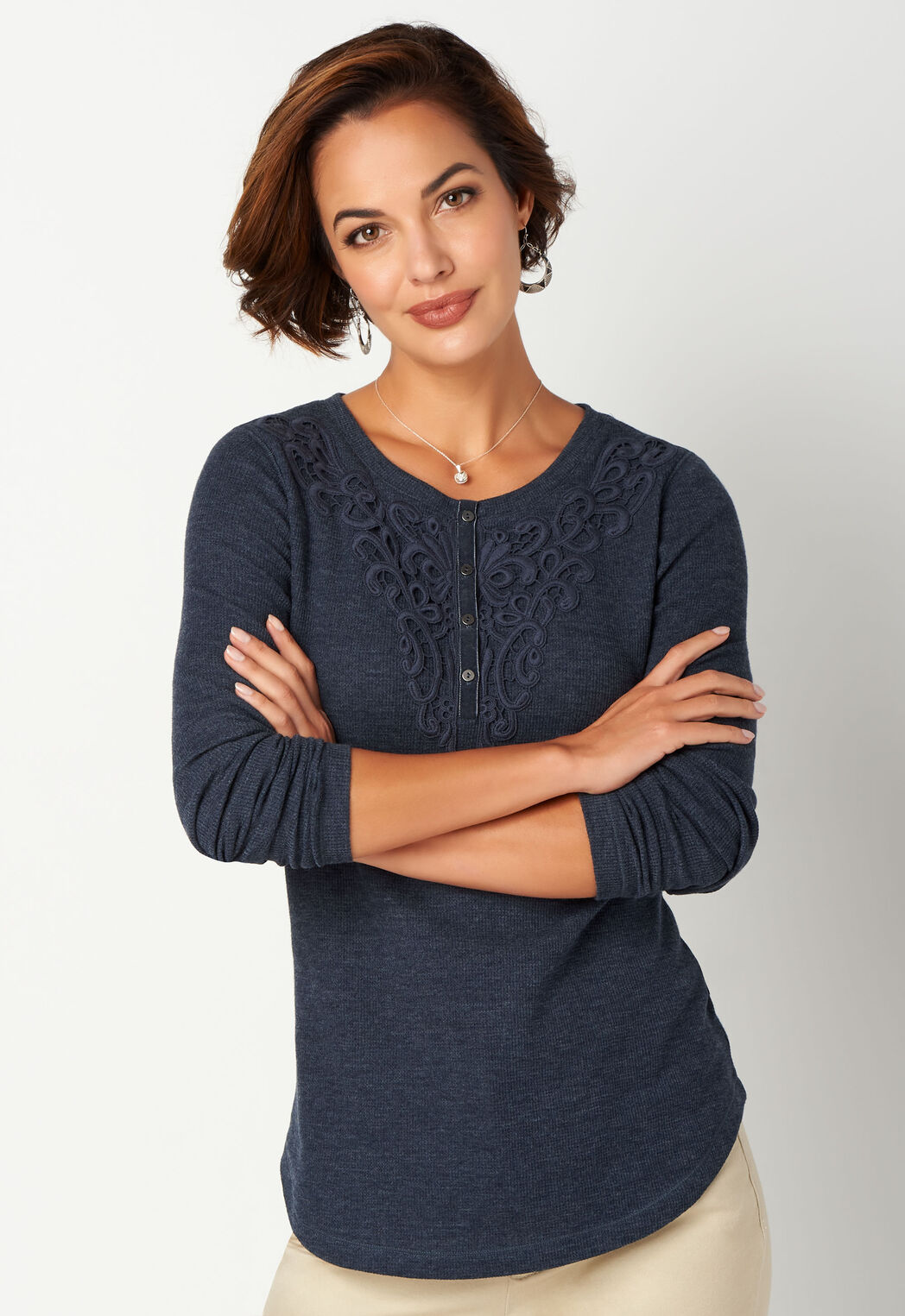 b0cd2ba583 Lace Detail Thermal Henley - CBK Web Store