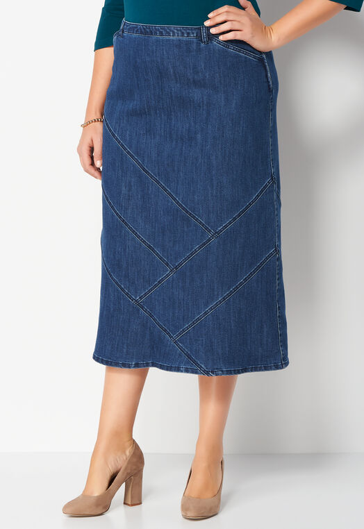 Long Seamed Plus Size Denim Skirt at Christopher & Banks in Charleston, WV | Tuggl