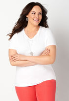 dfdd1bd30a4 Short Sleeve Sporty Solid Plus Size V-Neck Tee