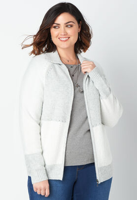 dd873afb687 Women s Color Block Zip Up Jacket from CJ Banks®