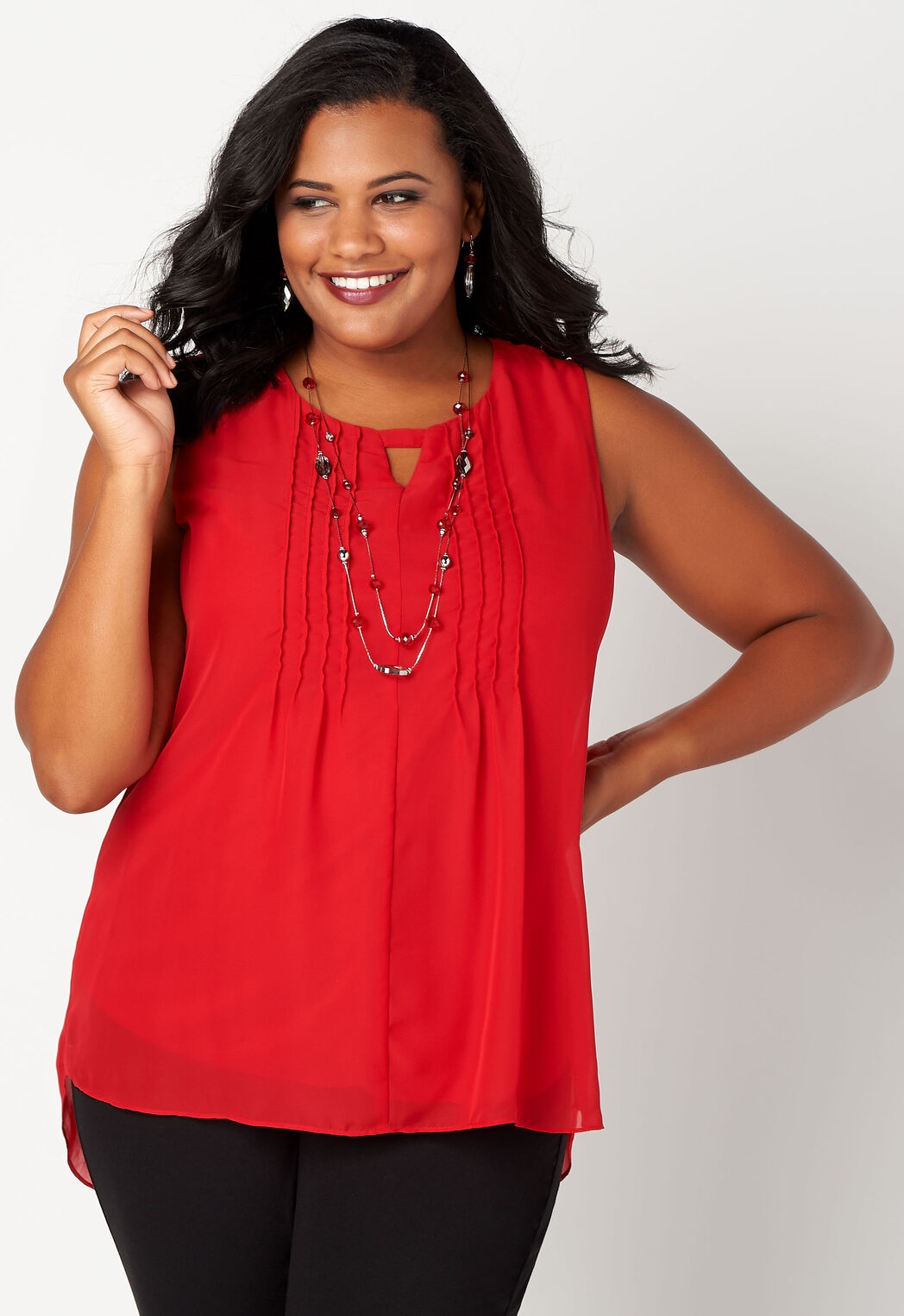 e08340f0 Solid Pleated Plus Size Shell - CBK Web Store