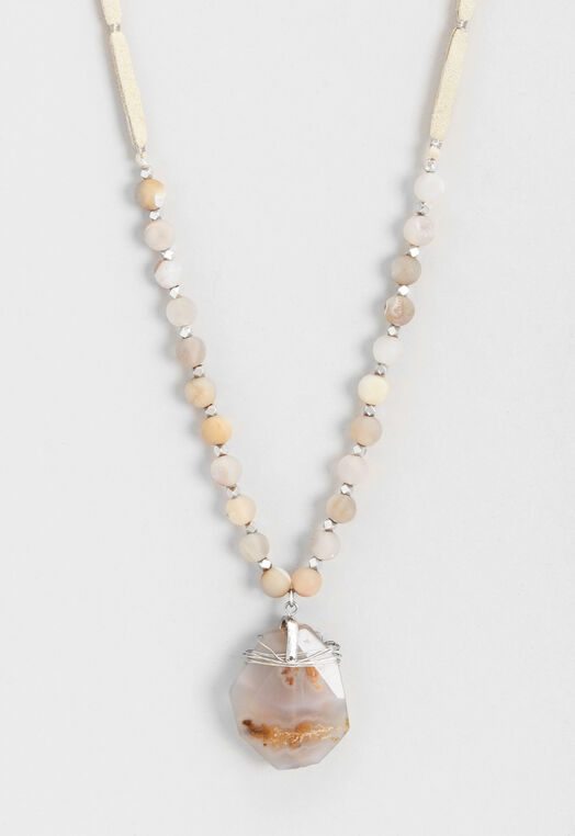 Long Semi-Precious Corded Beaded Necklace at Christopher & Banks in Charleston, WV | Tuggl