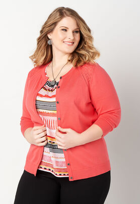 Perfect Pointelle Detail Plus Size Cardigan Sweater Cbk Web Store