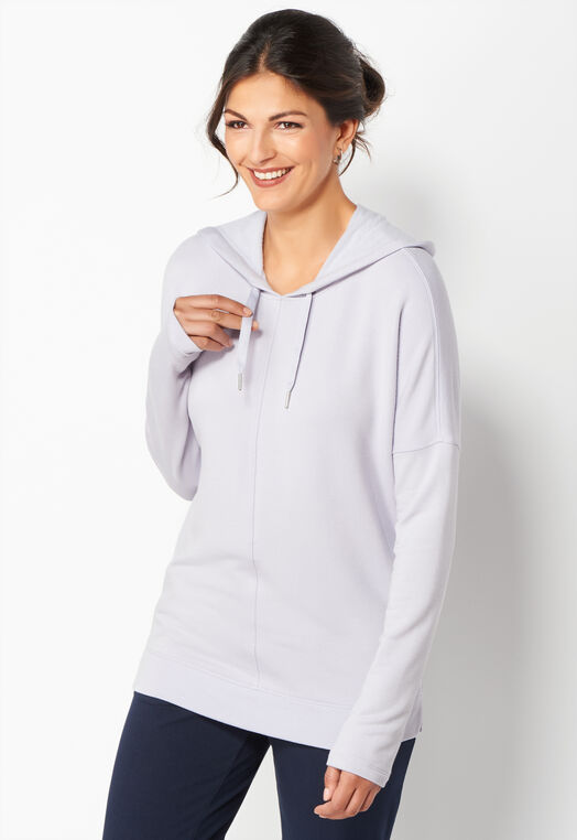 Relaxed Restyled Seamed Front Hoodie at Christopher & Banks in Charleston, WV | Tuggl