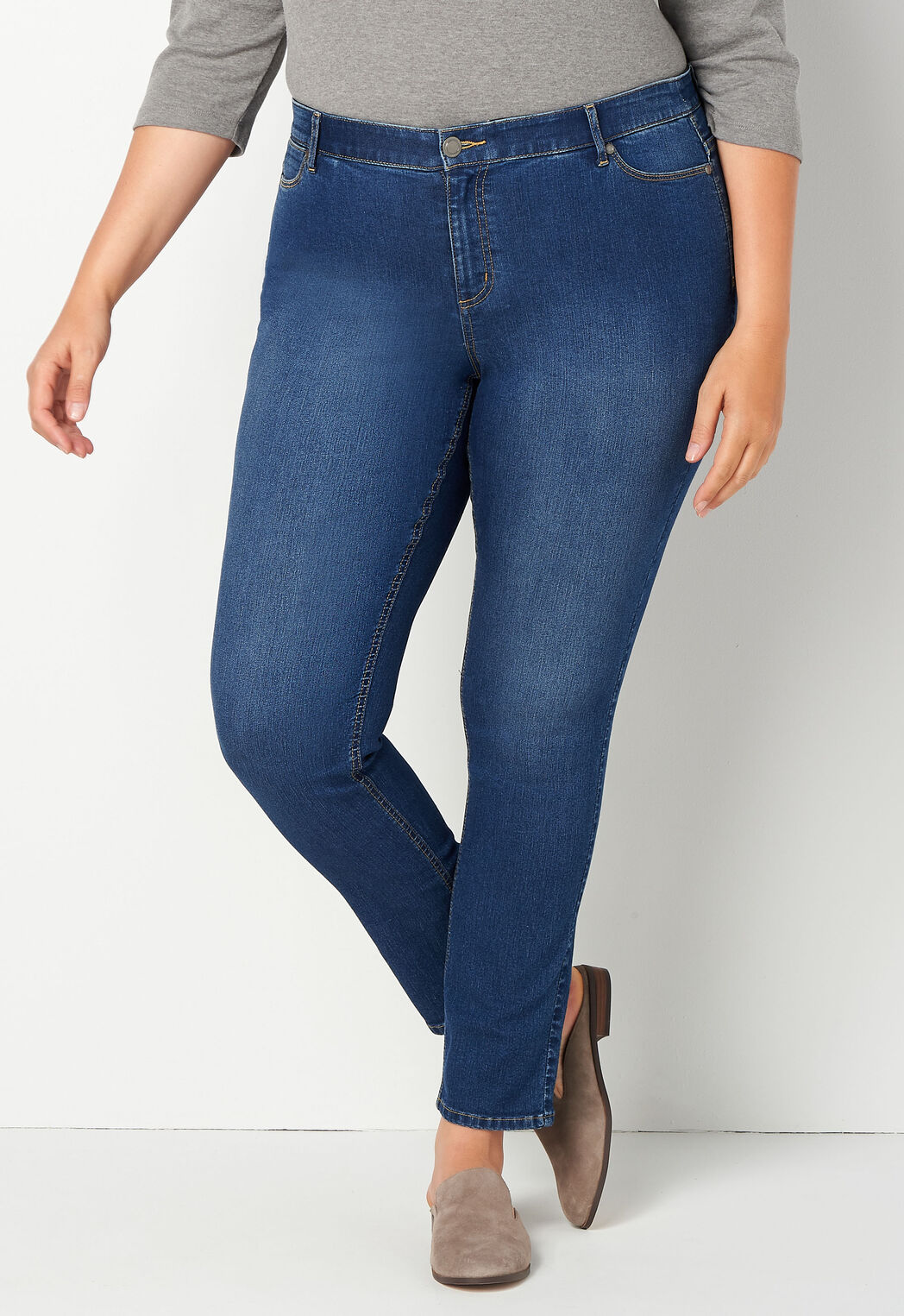d6079595197 Women s Refined Everyday Denim Tapered Leg Plus Size Pant Petite from