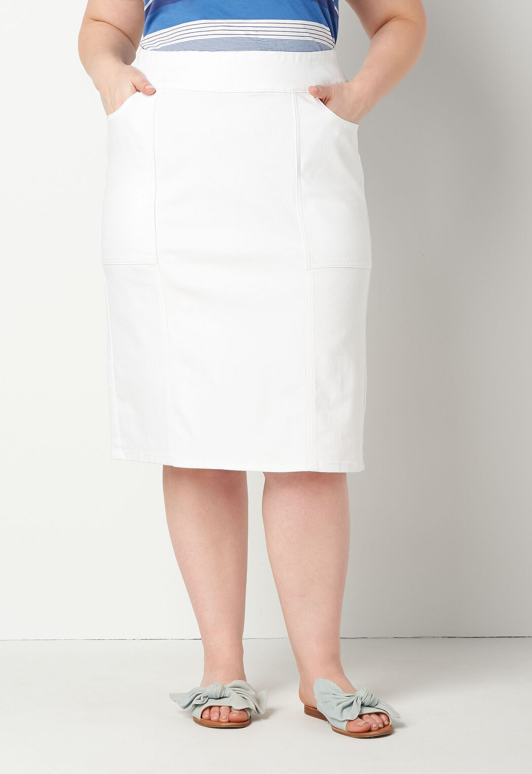 39d0bd934 White High Waisted Skirt Plus Size