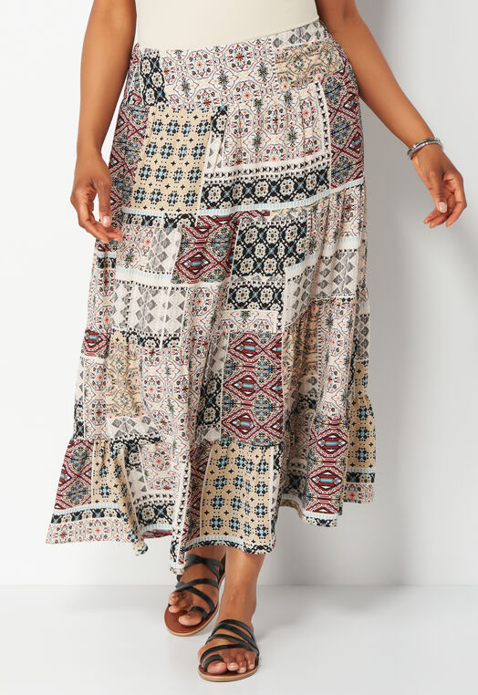 Mixed Printed Tiered Plus Size Maxi Skirt at Christopher & Banks in Charleston, WV | Tuggl