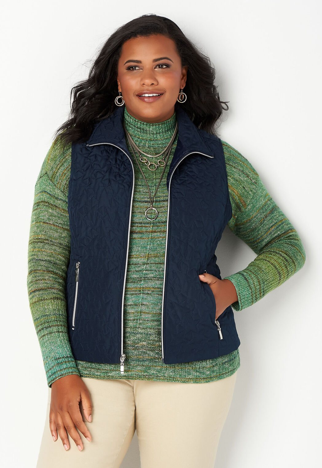 39681266fc5 Women s Solid Star Quilted Vest from CJ Banks®