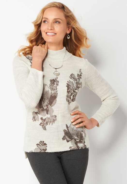 Printed Shaker Pullover Petite Sweater at Christopher & Banks in Charleston, WV | Tuggl