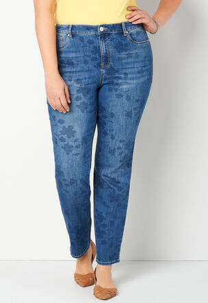 d61f9149a60 Floral Printed Tapered Leg Plus Size Jean Average