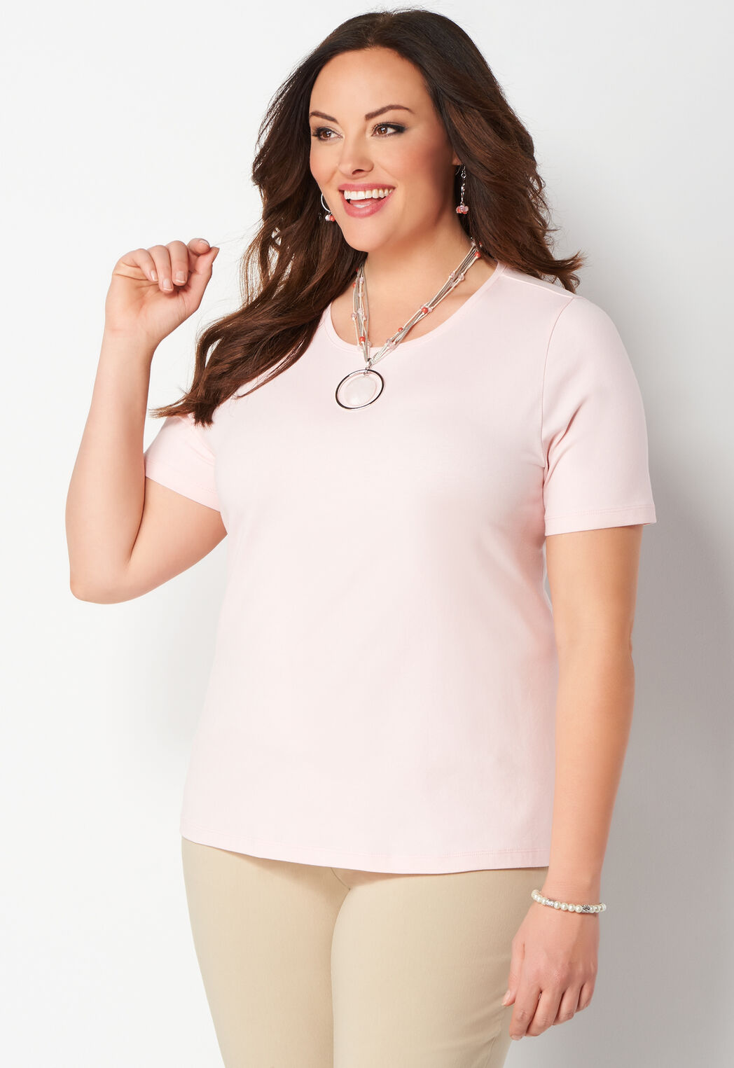 8177e59939033 Women s Jewel Neck Essential Knit Plus Size Tee from CJ Banks®
