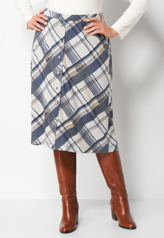 Plaid Button Down Plus Size Skirt at Christopher & Banks in Charleston, WV | Tuggl