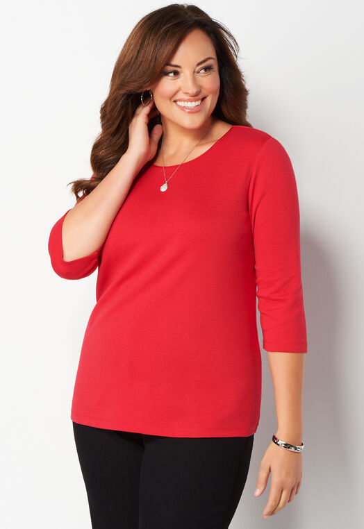 3/4 Sleeve Satin Trim Essential Plus Size Tee at Christopher & Banks in Charleston, WV | Tuggl