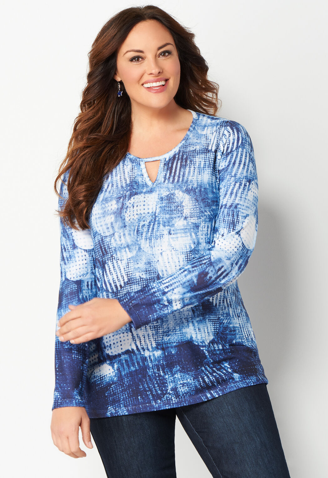women's ditsy dot plus size printed knit top from christopher