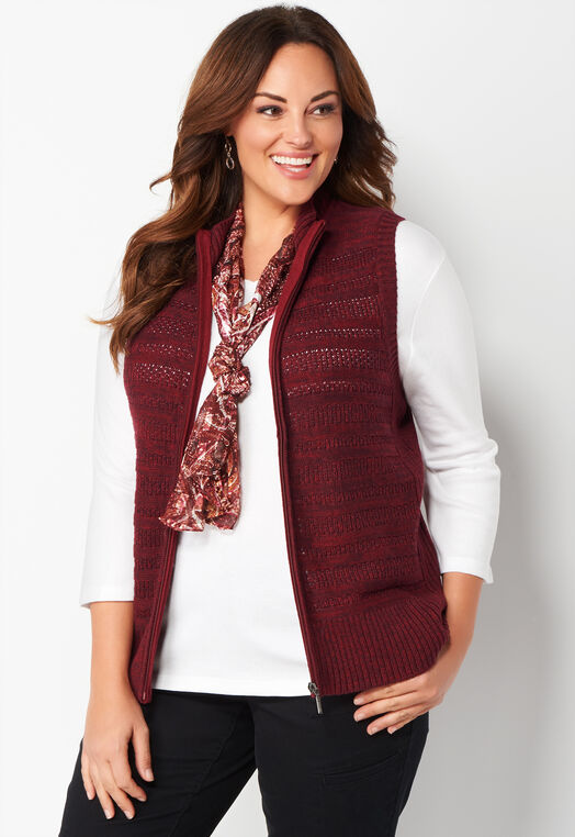 Textured Zip Front Plus Size Sweater Vest at Christopher & Banks in Charleston, WV | Tuggl