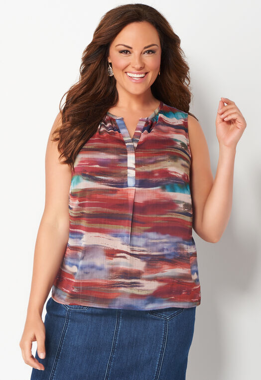 Watercolor Brushstroke Plus Size Printed Shell at Christopher & Banks in Charleston, WV | Tuggl