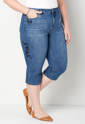 89bbadc3098 Women s Side Embr Denim Capri from CJ Banks®