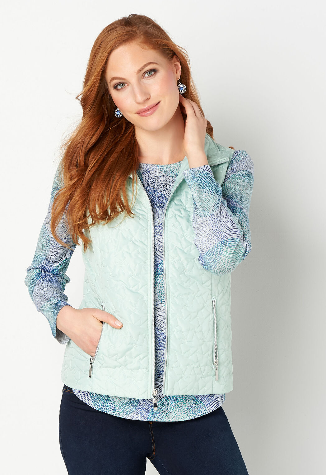 160d1044341 Women s Solid Star Quilted Vest from Christopher   Banks®