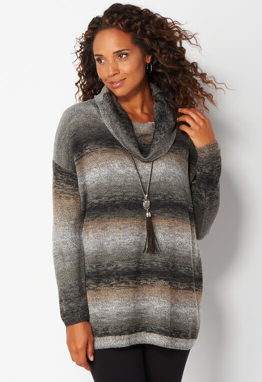 Cowl Neck Ombre Pullover Sweater at Christopher & Banks in Charleston, WV   Tuggl