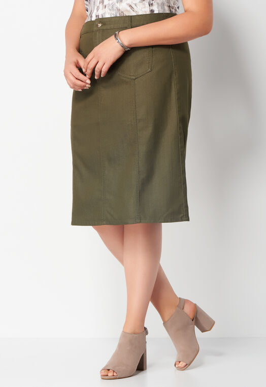 Patch Pocket Colored Denim Plus Size Skirt at Christopher & Banks in Charleston, WV | Tuggl