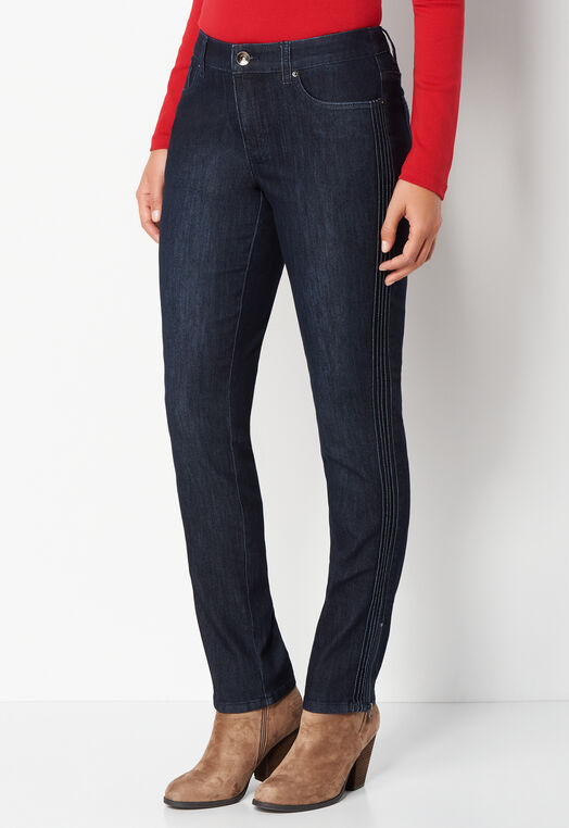 Pintuck Side Detail Petite Tapered Leg Denim Pant at Christopher & Banks in Charleston, WV | Tuggl