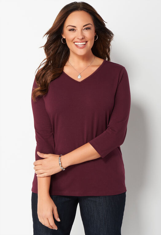 3/4 Sleeve Lace Trim V-Neck Essential Tee at Christopher & Banks in Charleston, WV | Tuggl