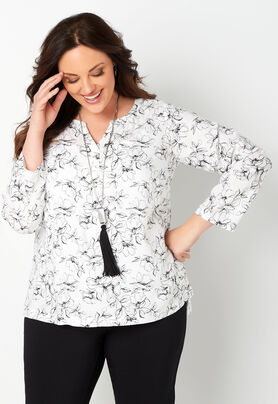 a0f25fed307 V-neck Floral Printed Plus Size Blouse - CBK Web Store