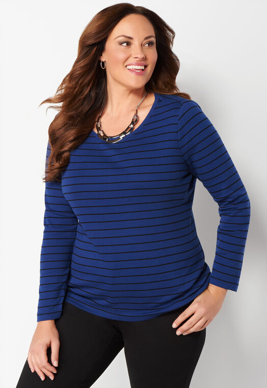 Long Sleeve Striped Essential Plus Size Crewneck Tee at Christopher & Banks in Charleston, WV | Tuggl