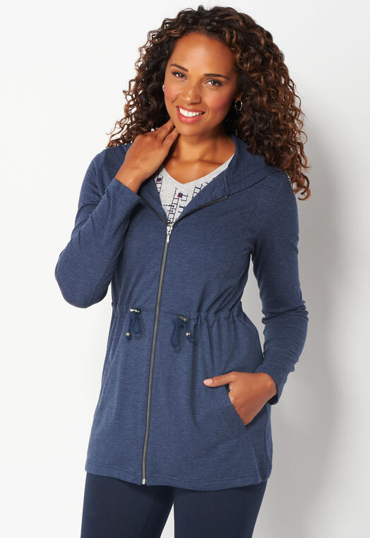 Relaxed Restyled Cinched Waist Zip Up Jacket at Christopher & Banks in Charleston, WV | Tuggl