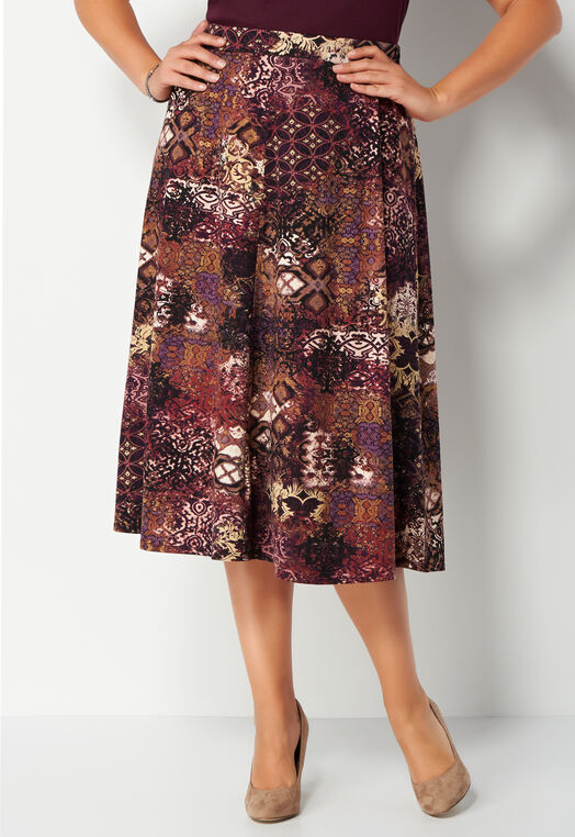 Geometric Whimsy Brushed ITY Plus Size Skirt at Christopher & Banks in Charleston, WV | Tuggl