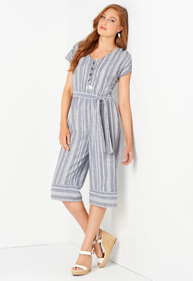a65432d2d8b9 Striped Linen Blend Jumpsuit - CBK Web Store