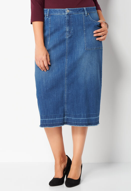 Release Hem Plus Size Denim Skirt at Christopher & Banks in Charleston, WV | Tuggl