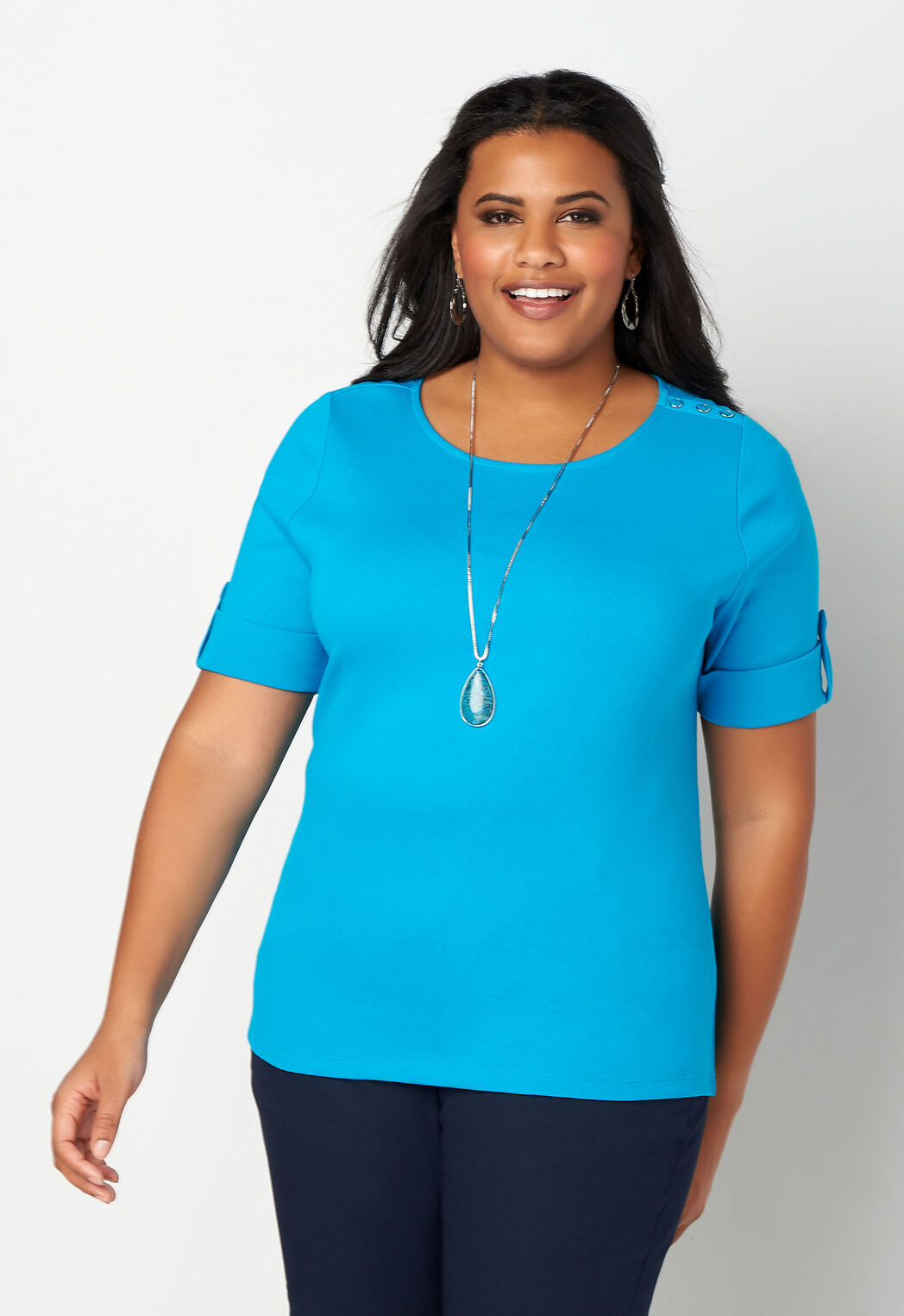 0dfa9d592 ... Tops Solid Elbow Sleeve Shoulder Detail Plus Size Boatneck. add to wish  list · add to wish list