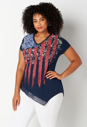 3cf16161ac1 American Flag V-Neck Plus Size Tee
