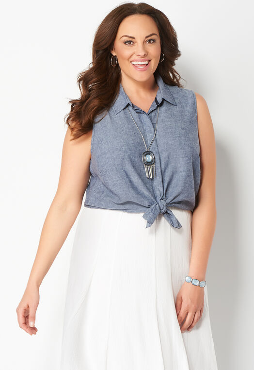 Sleeveless Linen Button Plus Size Shirt at Christopher & Banks in Charleston, WV | Tuggl